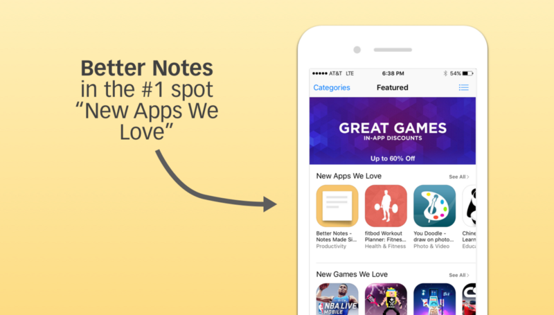 Better Notes on the App Store's front page